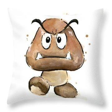 Goomba Watercolor Throw Pillow