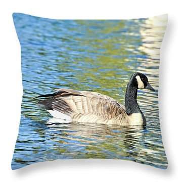 Throw Pillow featuring the photograph Goose And Sun Reflections by David Lawson