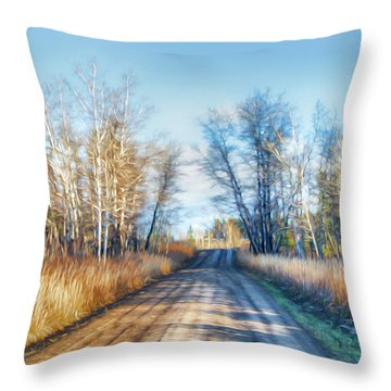 Goose Lake Road Throw Pillow by Theresa Tahara