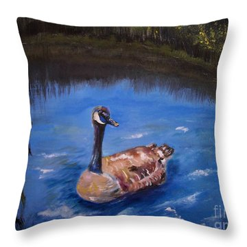 Throw Pillow featuring the painting Goose by Leslie Allen