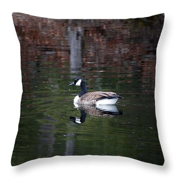 Goose On A Pond Throw Pillow