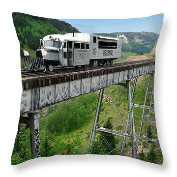 Goose On Cascade Trestle Throw Pillow by Ken Smith