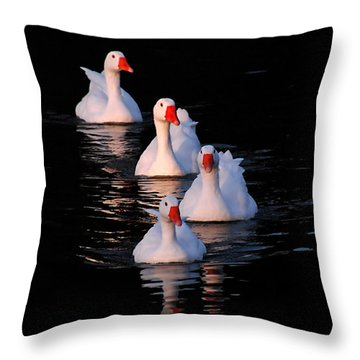 Throw Pillow featuring the photograph Goose Parade by Howard Bagley