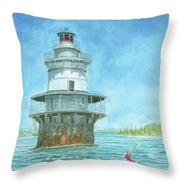 Goose Rocks Light At High Tide Throw Pillow by Dominic White