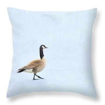 Throw Pillow featuring the photograph Goose Step by Nikolyn McDonald