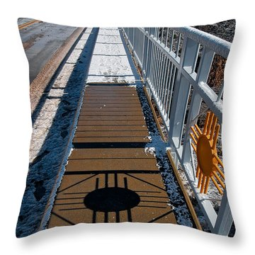 Gorge Bridge Zia Symbol Throw Pillow