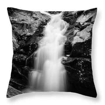 Gorge Waterfall In Black And White Throw Pillow