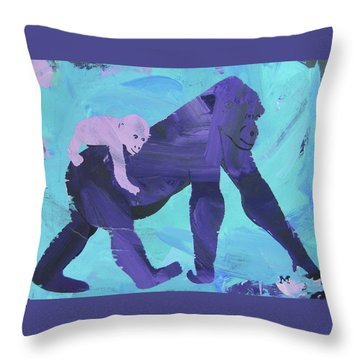 Throw Pillow featuring the painting Gorgeous Gorilla by Candace Shrope