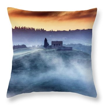 Gorgeous Tuscany Landcape At Sunrise Throw Pillow by Evgeni Dinev