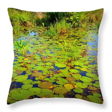 Gorham Pond Lily Pads Throw Pillow