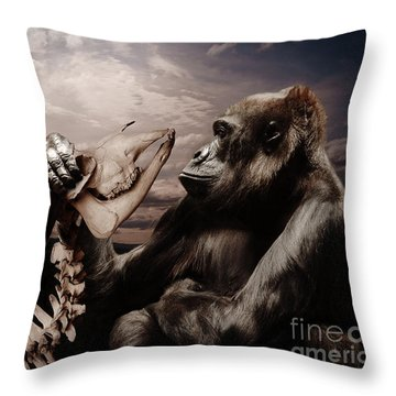 Throw Pillow featuring the photograph Gorilla And Bones by Christine Sponchia