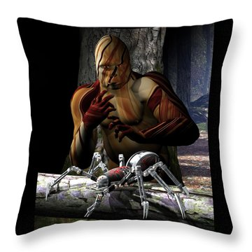 Gorilla And Spider Throw Pillow