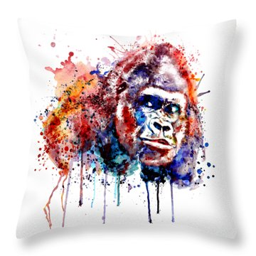 Throw Pillow featuring the mixed media Gorilla by Marian Voicu