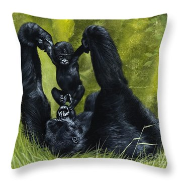 Gorilla Playing With Baby Throw Pillow