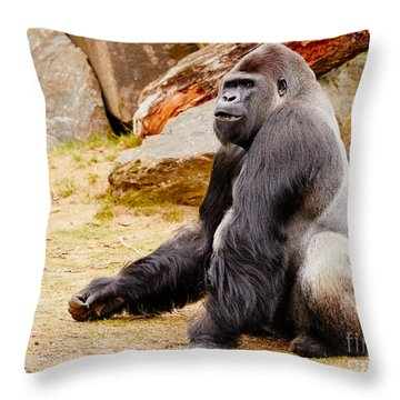 Gorilla Sitting Upright Throw Pillow