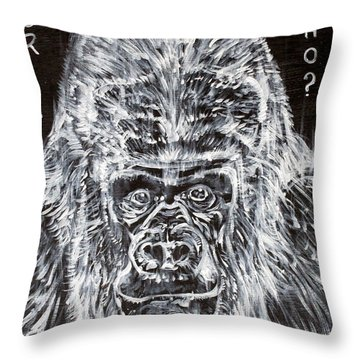 Throw Pillow featuring the painting Gorilla Who? by Fabrizio Cassetta