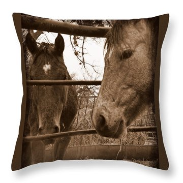 Gossip At The Fence Throw Pillow