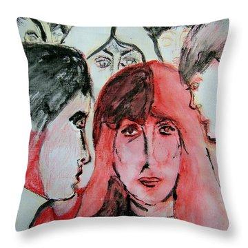 Gossip Throw Pillow by Judith Redman