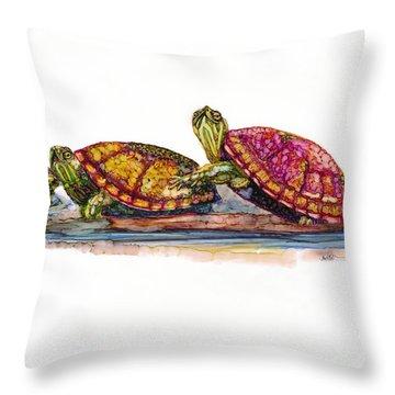 Spring Turtles Throw Pillow