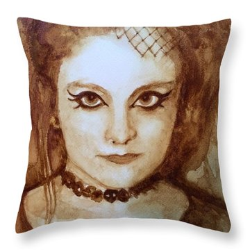 Goth Lady Throw Pillow by Chrissey Dittus