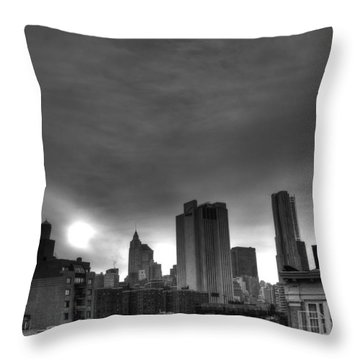 Gotham Black And White Throw Pillow by Randy Aveille