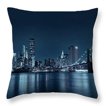 Gotham City Skyline Throw Pillow by Sebastien Coursol