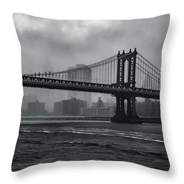 Manhattan Bridge In A Storm Throw Pillow
