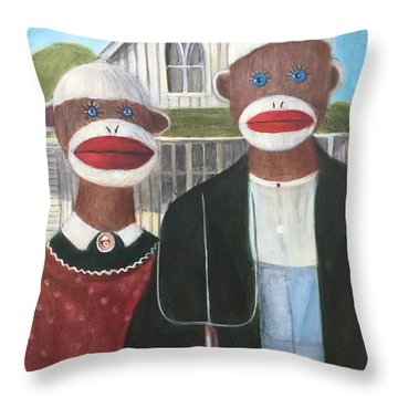 Throw Pillow featuring the painting Gothic American Sock Monkeys by Randol Burns