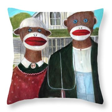 Gothic American Sock Monkeys Throw Pillow