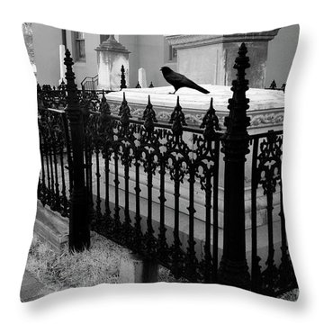 Gothic Haunting Surreal Cemetery Gate Coffin With Raven - South Carolina Revolutionary War Grave Throw Pillow
