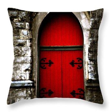 Gothic Red Door Memphis Church Throw Pillow
