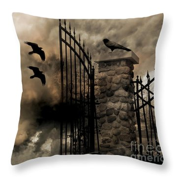Gothic Surreal Fantasy Ravens Gated Fence  Throw Pillow by Kathy Fornal