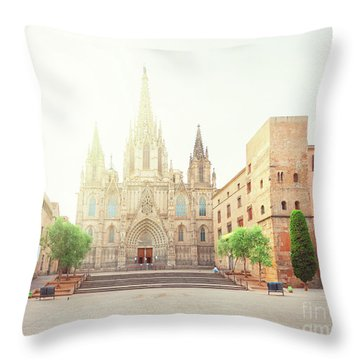 Gotic Cathedral  Of Barcelona Throw Pillow