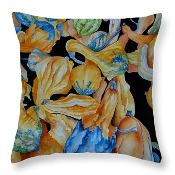 Gourds Galore Throw Pillow by Rosie Brown