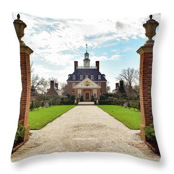 Governor's Palace In Williamsburg, Virginia Throw Pillow