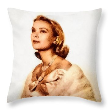 Grace Kelly, Vintage Actress By John Springfield Throw Pillow by John Springfield