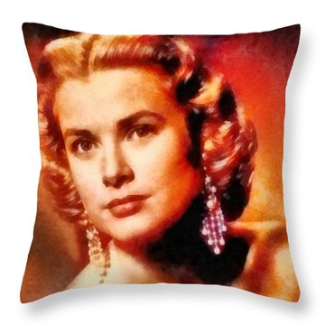Grace Kelly, Vintage Hollywood Actress Throw Pillow by Frank Falcon