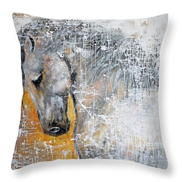 Abstract Horse Painting Graceful Beauty Throw Pillow