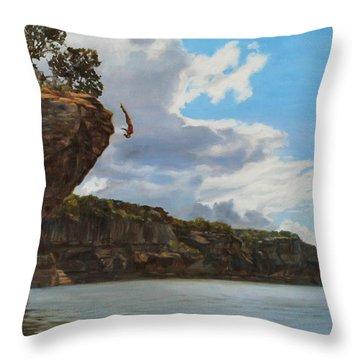 Graceful Cliff Dive Throw Pillow