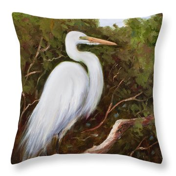 Graceful Egret Throw Pillow