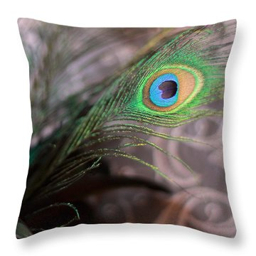 Graceful Peacock Feather Throw Pillow