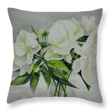 Graceful Peonies Throw Pillow