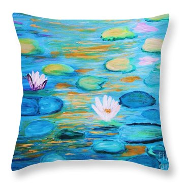Throw Pillow featuring the painting Graceful Pond From The Water Series by Donna Dixon