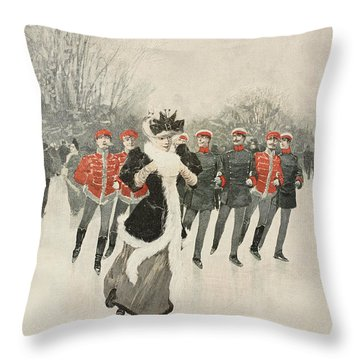Graceful Skater Being Chased By Her Admirer Throw Pillow