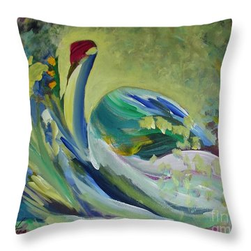 Graceful Swan Throw Pillow by Denise Hoag
