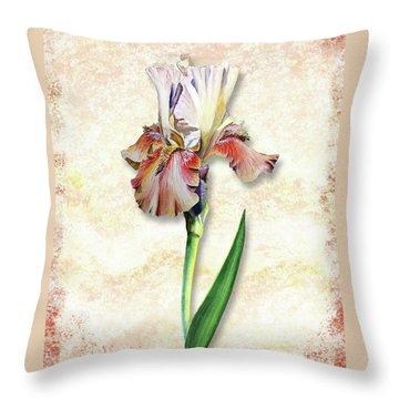 Throw Pillow featuring the painting Graceful Watercolor Iris by Irina Sztukowski
