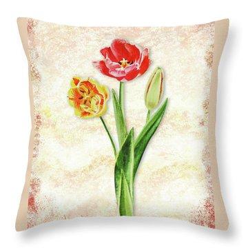 Throw Pillow featuring the painting Graceful Watercolor Tulips by Irina Sztukowski