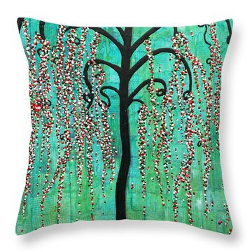 Throw Pillow featuring the mixed media Graceful Willow Print by Natalie Briney
