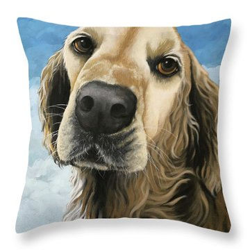 Gracie - Golden Retriever Dog Portrait Throw Pillow