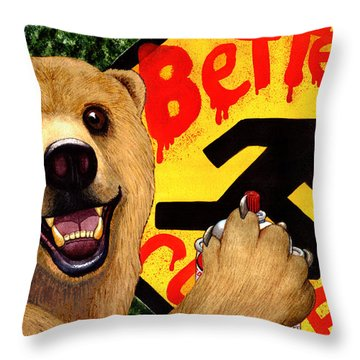 Graffiti Bear Throw Pillow